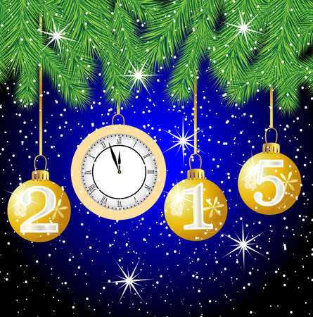 pine needle: clock and festive marbles with numbers 2015 hang on the branches of tree,  vector  illustration Illustration