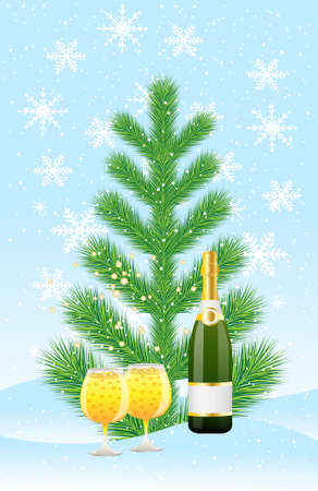 snowdrift: green tree and champagne on to snow,  vector  illustration