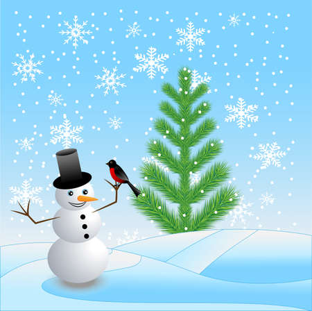 snow man: green tree and snow man with a bullfinch on to snow,  vector  illustration Illustration