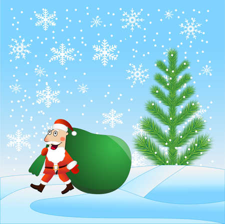 fur coat: Santa claus with the large sack of gifts идет on a path,  vector  illustration