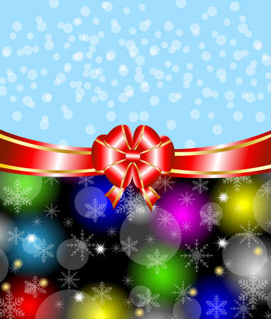 bright christmas background with a red bow,vector illustration Vector