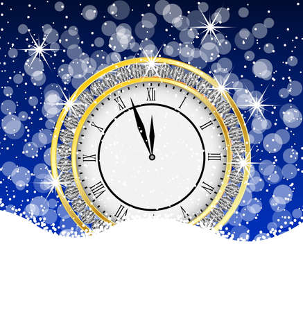 clock with jewels on a festive background,  vector  illustration