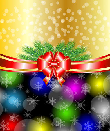 pine needle: bright christmas background with a red bow,vector illustration