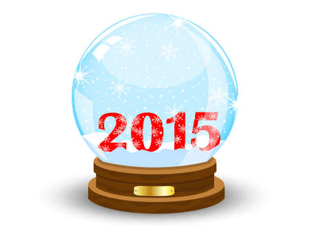 glass festive ball with numbers 2015 year,vector illustration