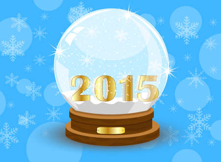 inwardly: glass festive ball with numbers 2015 year,vector illustration