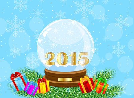 glass festive ball with numbers 2015 year and by gifts,vector illustration Stock Illustratie