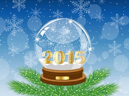 pine needle: glass festive ball with numbers 2015 year,vector illustration