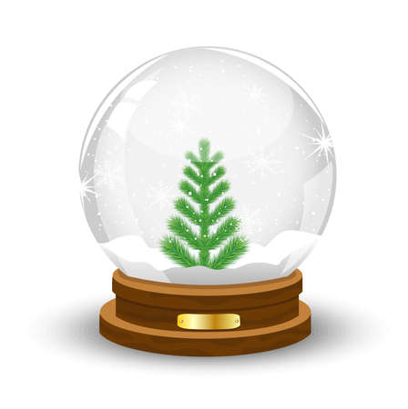 pine needle: glass festive ball with a green tree inwardly,vector illustration