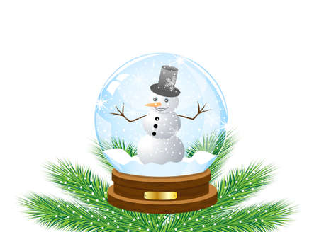 glass festive ball with a snow man inwardly,vector illustration