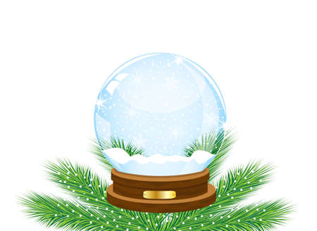 glass festive ball on the green branches of fir-tree,vector illustration Stock Illustratie