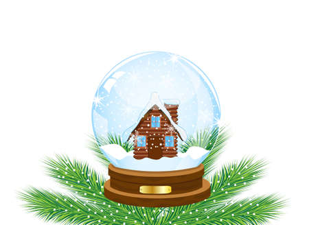 pine needle: glass festive ball with a house inwardly,vector illustration
