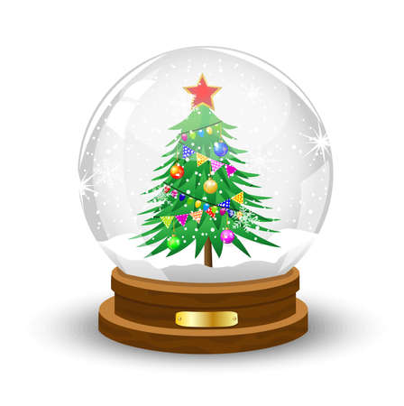 inwardly: glass festive ball with the green decorated tree inwardly,vector illustration Illustration