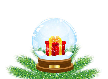 inwardly: glass festive ball with a gift inwardly,vector illustration