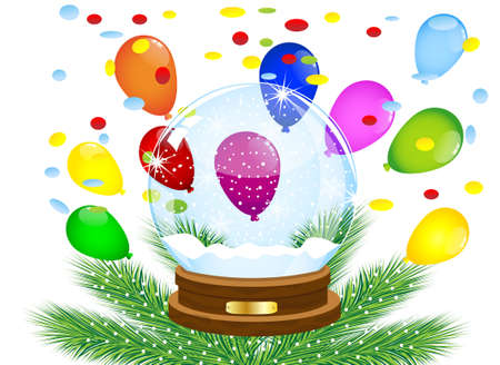 glass festive ball and bright air marbles,vector illustration
