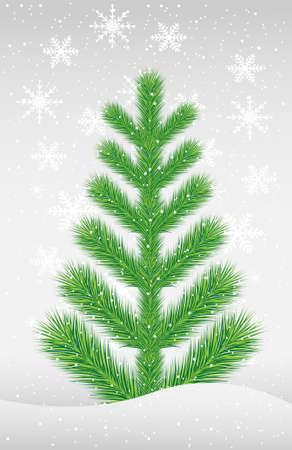snowdrift: green tree in to snow,  vector  illustration