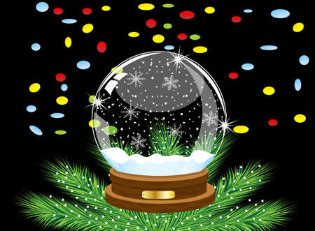 pine needle: glass festive ball and varicoloured confettis on a black background,vector illustration