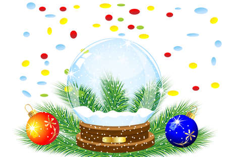 glass festive ball, two marbles and varicoloured confettis,vector illustration Stock Illustratie