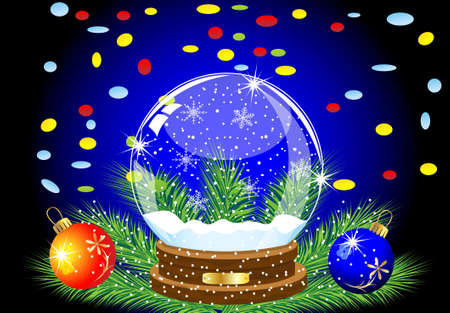 glas feestelijke bal, twee knikkers en gekleurde confetti, vector illustratie Stock Illustratie