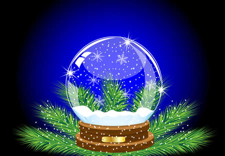 pine needle: glass festive ball on the green branches of fir-tree,vector illustration Illustration
