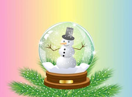 inwardly: glass festive ball with a snow man inwardly,vector illustration