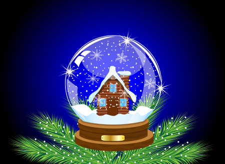 glass festive ball with a house inwardly,vector illustration