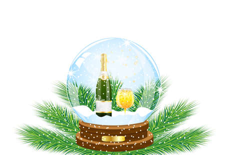 inwardly: festive ball with a bottle and glass of champagne inwardly,vector illustration