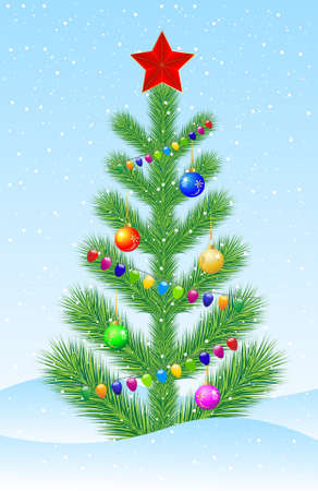 snowdrift: decorated by marbles and garlands green tree on to snow,  vector  illustration