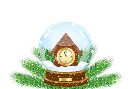 inwardly: festive ball with a clock as a house inwardly,vector illustration