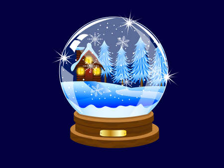 pine needle: festive ball with winter landscape inwardly,vector illustration