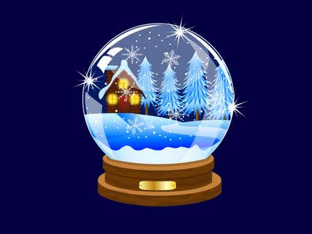 inwardly: festive ball with winter landscape inwardly,vector illustration