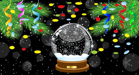 pine needle: festive ball and branches of tree with a serpentine and confetti,vector illustration Illustration