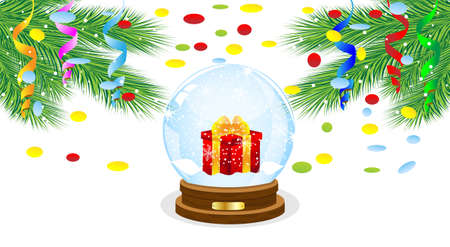 inwardly: festive ball with a gift inwardly and branches of tree,vector illustration