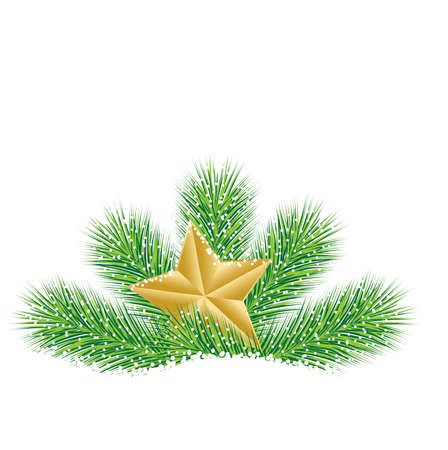 pine needle: festive star with the branches of fir-tree on to snow,  vector  illustration Illustration