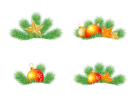 pine needle: festive decorations with the branches of fir-tree on to snow,  vector  illustration Illustration