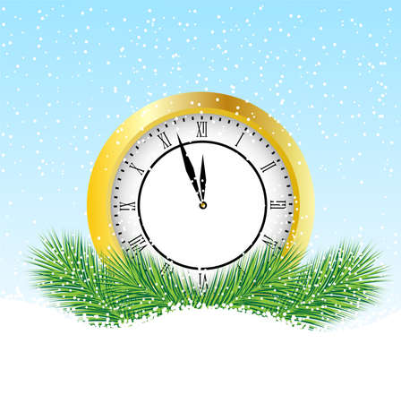 pine needle: clock with the branches of fir-tree on to snow,  vector  illustration
