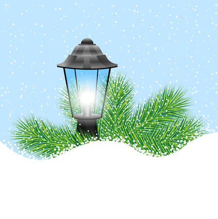 pine needle: lantern with the branches of fir-tree on to snow,  vector  illustration
