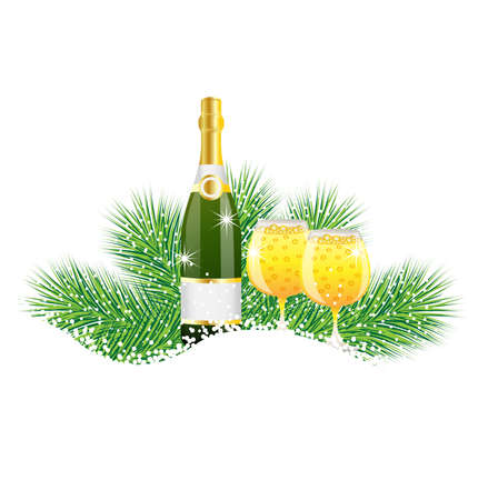 pine needle: bottle and two glasses of champagne with the branches of fir-tree on to snow,  vector  illustration