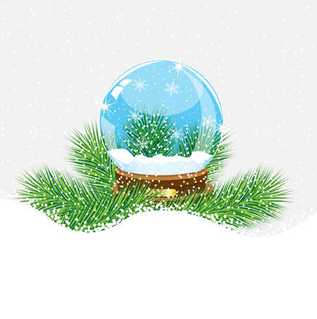 festive glass ball with the branches of fir-tree on to snow,  vector  illustration Stock Illustratie