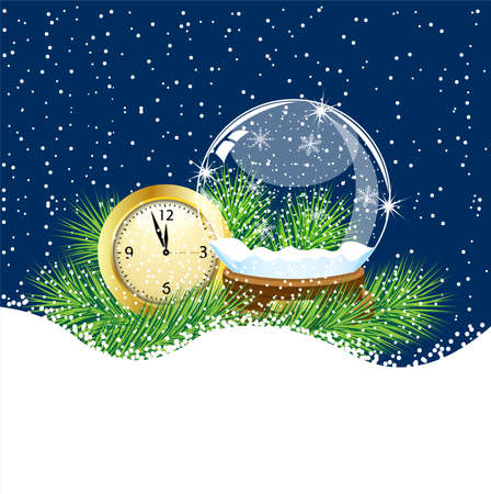 pine needle: glass ball and clock with the branches of fir-tree on to snow,  vector  illustration