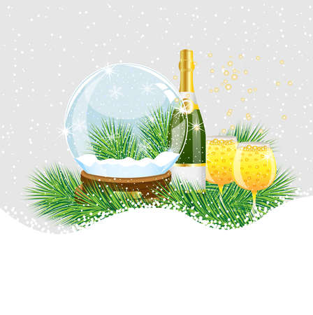 glass ball and champagne with the branches of fir-tree on to snow,  vector  illustration