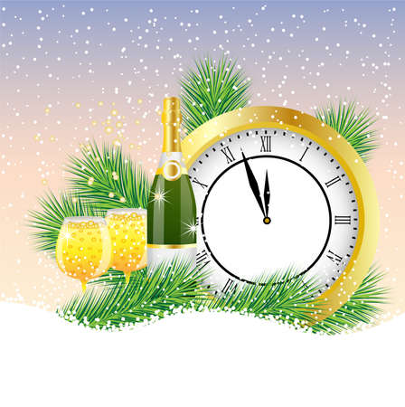 pine needle: clock and champagne with the branches of fir-tree on to snow,  vector  illustration