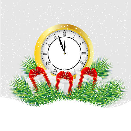 pine needle: clock and gifts with the branches of fir-tree on to snow,  vector  illustration