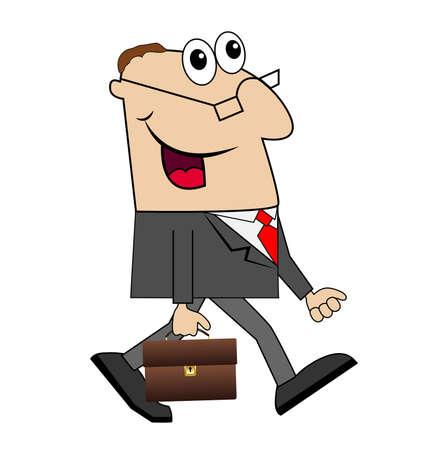zapatos caricatura: Hombre de negocios con un maletín va a trabajar. Ilustración del vector.