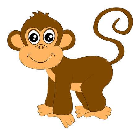 mono caricatura: mono divertido en el fondo blanco, ilustración vectorial