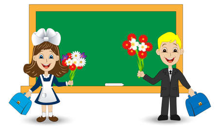 classmate: merry girl and boy with bouquets of flowers on the school Board,vector illustration Illustration