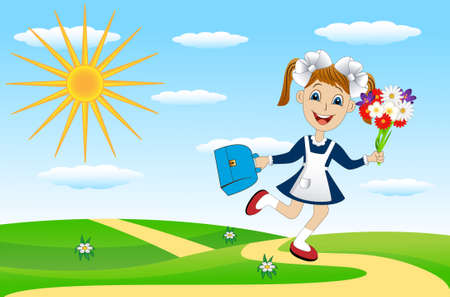 satchel: cheerful girl with a bouquet of flowers and a briefcase,vector illustration