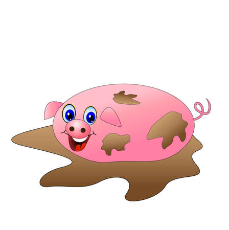 lying in: dirty pig lying in a puddle,vector illustration