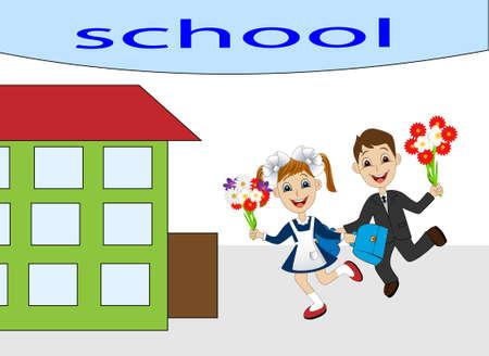 satchel: merry girl and boy running to school,vector illustration Illustration