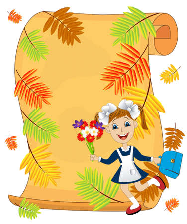 ash tree: cheerful girl in school uniform amid the branches of the ash tree,vector illustration