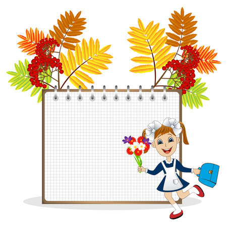ash tree: cheerful girl in school uniform on the background of a notebook and the branches of the ash tree,vector illustration